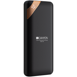 CANYON Power bank 10000mAh Li-poly battery, Input 5V/2A, Output 5V/2.1A(Max), with Smart IC and power display, Black, USB cable length 0.25m, 137*67*13mm, 0.230Kg
