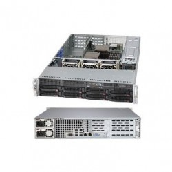Supermicro server chassis Rackmount 2U w/ 500W Redundant 80 Plus Platinum Level Certified Power Supply w/ PMBus, for Motherboard up to 13.68in x 16.5in E-ATX maximum size - Includes 8x 3.5in Hot-Swap SAS/SATA Drive Bays, SAS/SATA Backplane, DVD-ROM