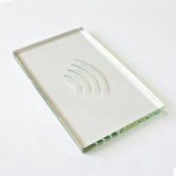Architectural reader insert, glass with logo